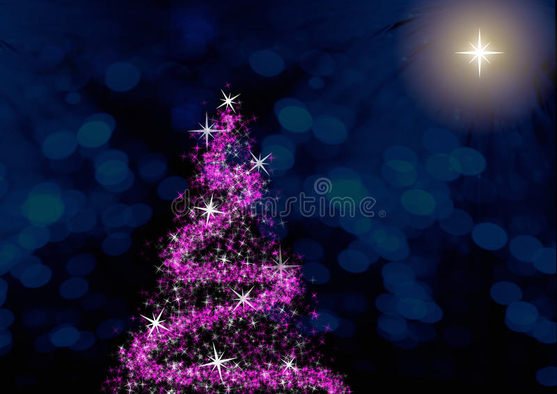 Christmas. Purple christmas tree on blue background with defocused dots and polar star vector illustration