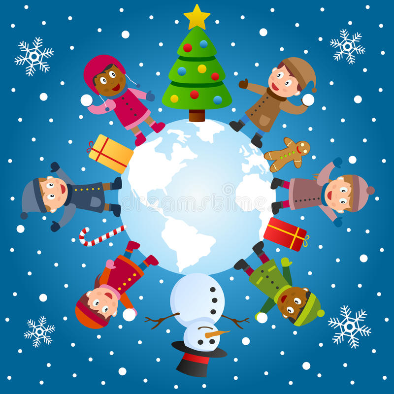 And So This Is Christmas. A group of six multicultural kids around the world with Christmas tree, snowman and gifts. Eps file available