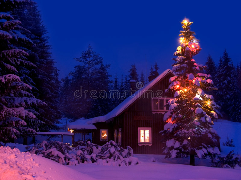 Download Christmas stock photo. Image of evening, trappings, shack - 3131522