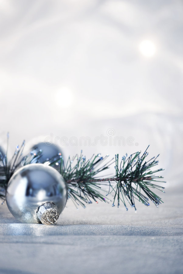 Christmas. Still life with silver christmas ornaments