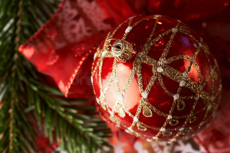 Christmas. Decoration with red bauble royalty free stock photos