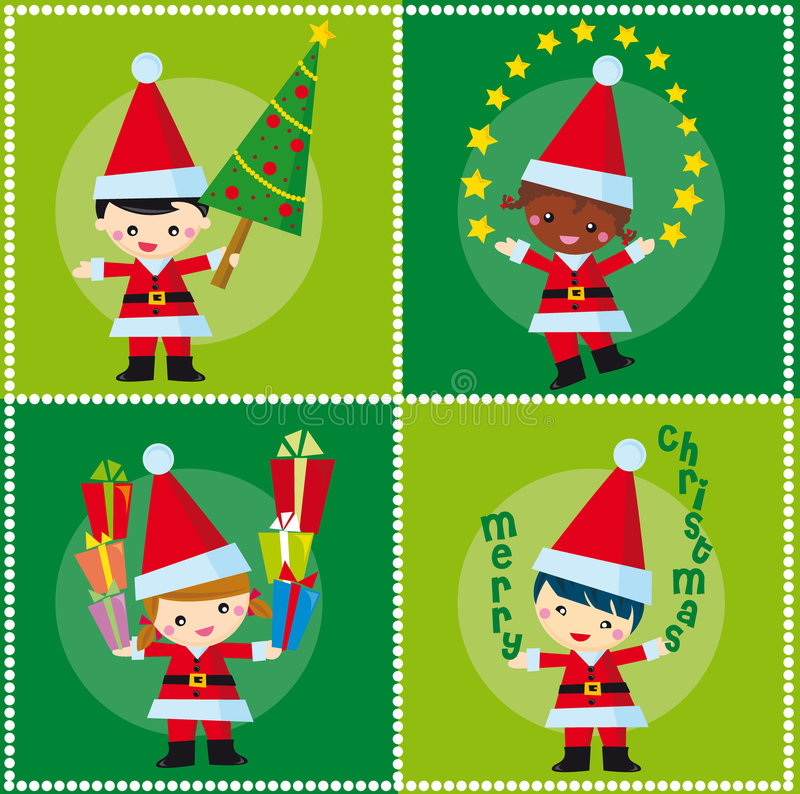 Christmas. Illustration of four children with christmas elements in the green background