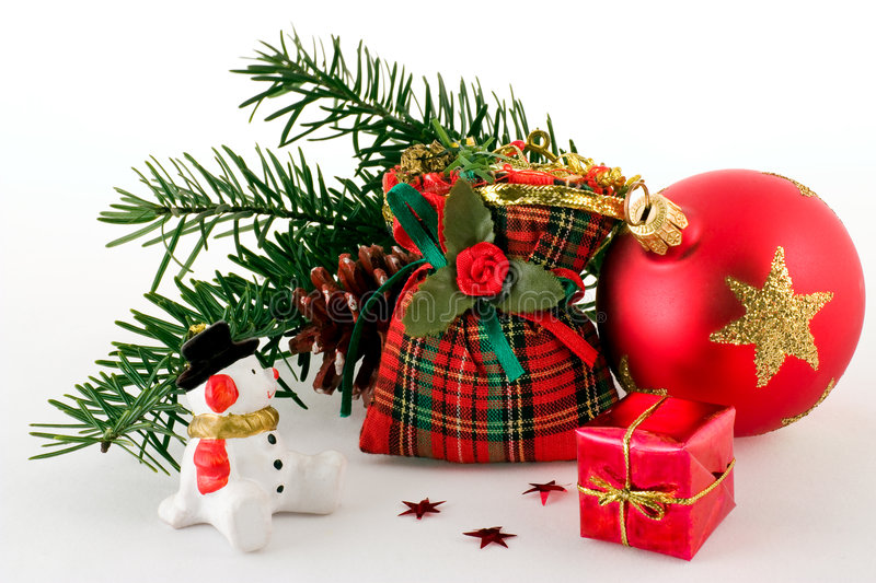 Christmas. Decorations on a white background royalty free stock photos