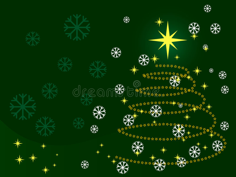 Christmas. Tree made from stars, on green background