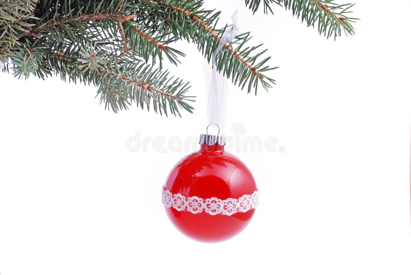 Christmas. Decoration with red ball on white royalty free stock photo