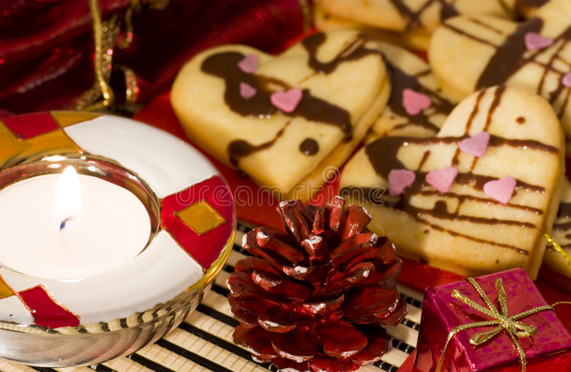 Christmas. Still life with cake and candles royalty free stock images