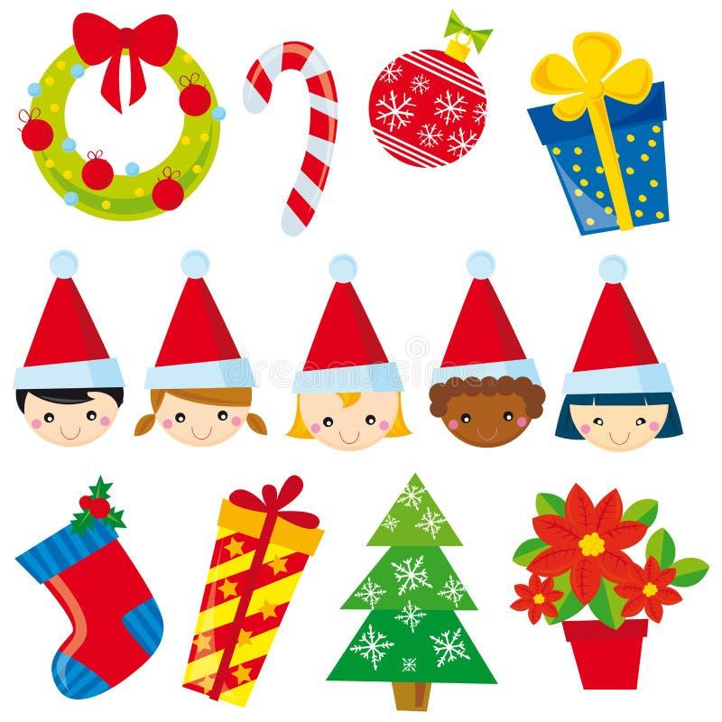 Christmas. Illustration of christmas elements on white background