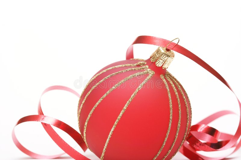 Christmas. Red ball on white background royalty free stock photo
