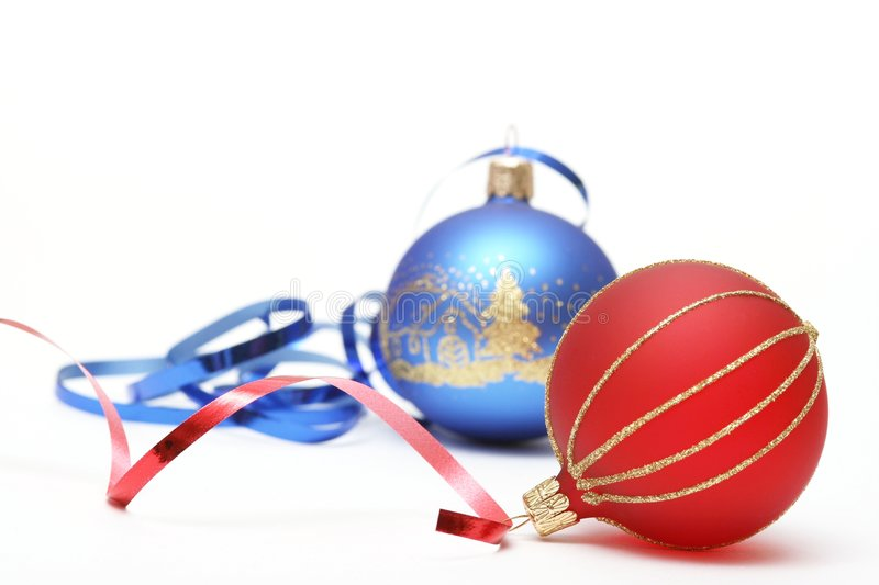 Christmas. Red ball and blue ball on white background royalty free stock photo