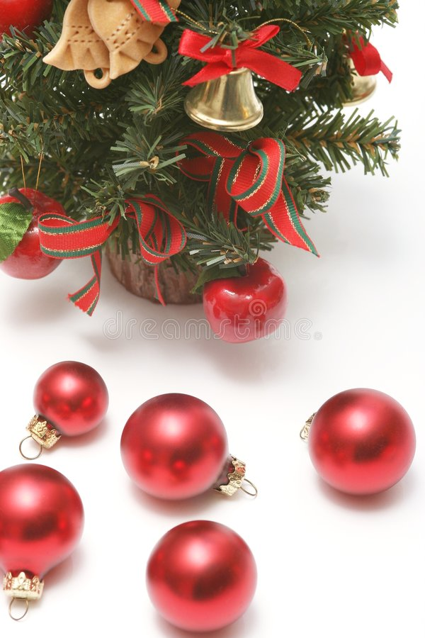 Christmas. Still life. tree and red balls on white background royalty free stock image