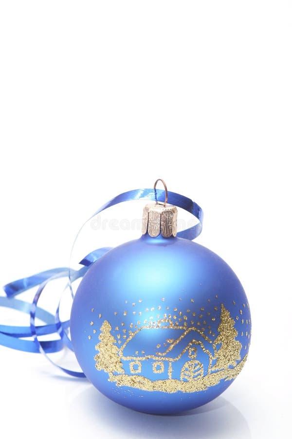 Christmas. Blue ball on white background stock image