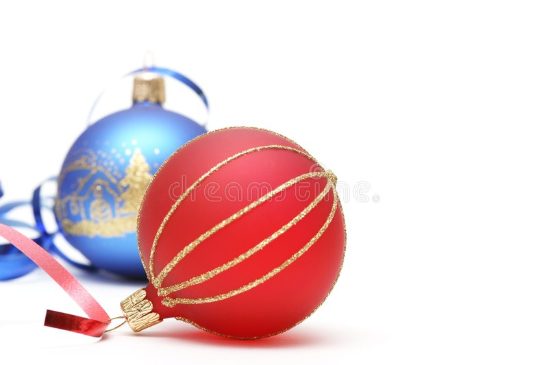 Christmas. Red ball and blue ball on white background royalty free stock images