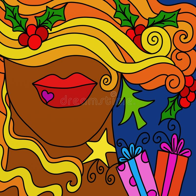 Download Christmas abstract face stock illustration. Image of isolated - 21564935