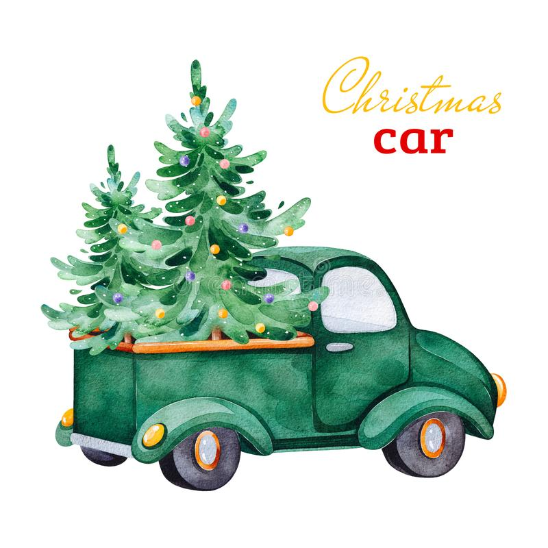 Christmas abstract retro car with Christmas trees and other decorations stock illustration