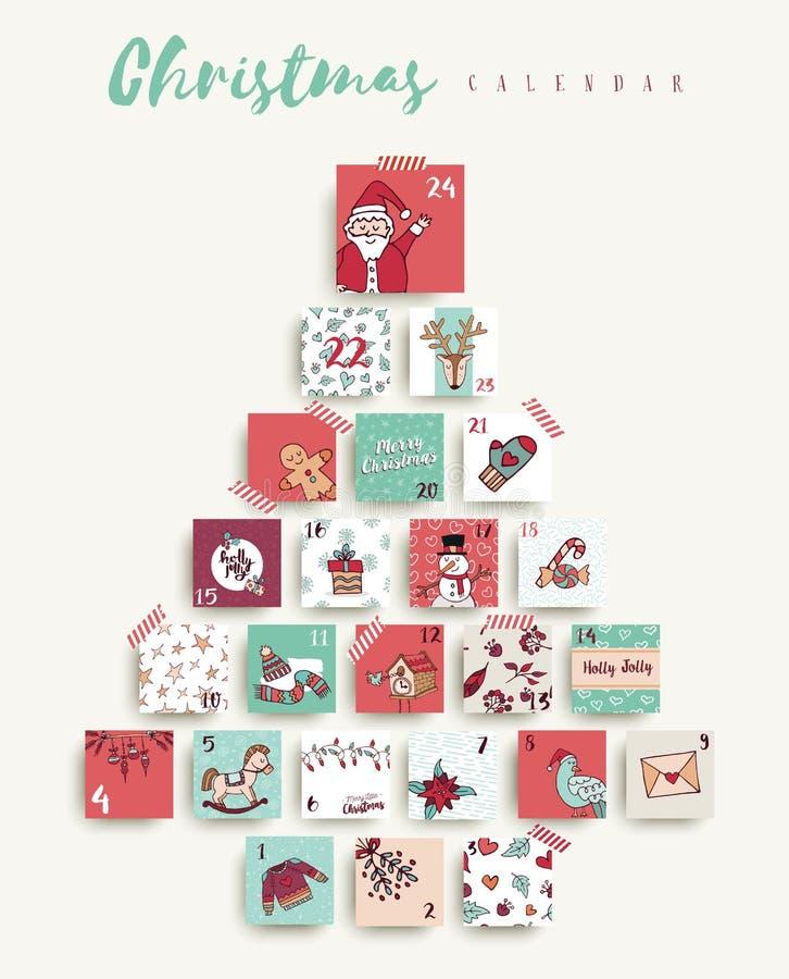 Christmas advent calendar cute cartoon holiday art. Christmas advent calendar, cute holiday season decoration countdown to xmas day celebration. Includes vector illustration