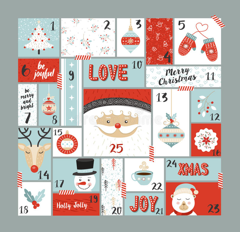 Christmas advent calendar cute decoration elements. Christmas advent calendar cute holiday decoration, countdown to xmas day with santa claus, reindeer, pine royalty free illustration