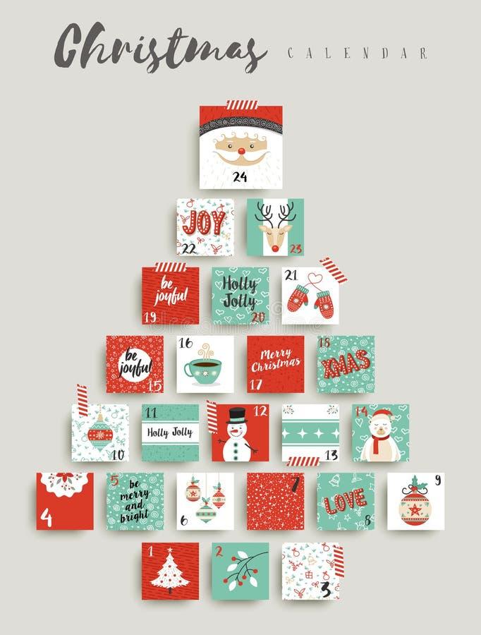 Christmas advent calendar cute ornament decoration. Christmas advent calendar, cute holiday season decoration countdown to xmas day celebration. EPS10 vector royalty free illustration