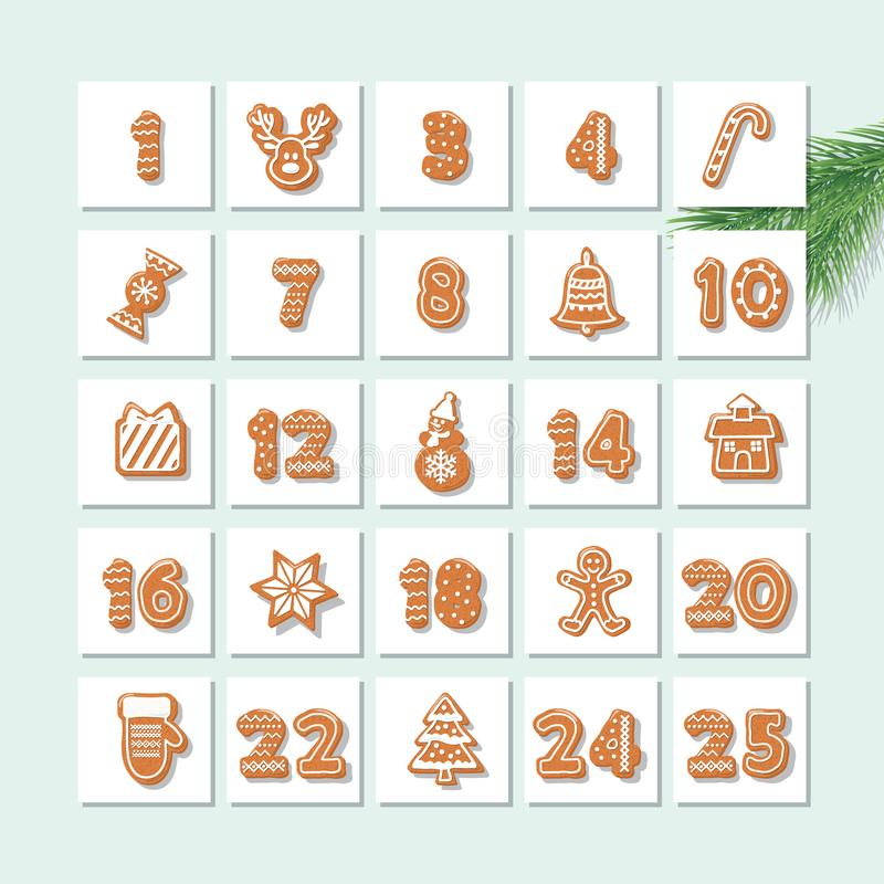Christmas advent calendar, decorated wirh gingerbread cookies. Vector stock illustration