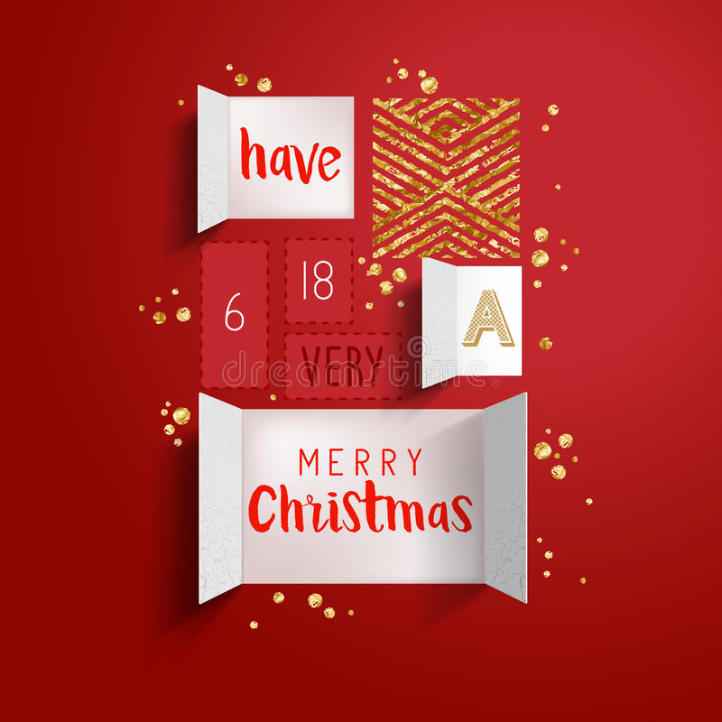 Christmas advent calendar. Doors open to reveal a festive message with gold details. Vector illustration stock illustration