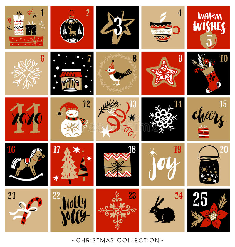 Christmas advent calendar. Hand drawn design elements royalty free illustration