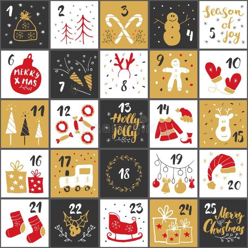Christmas advent calendar. Hand drawn elements and numbers. Winter holidays calendar cards set design, Vector illustration stock illustration