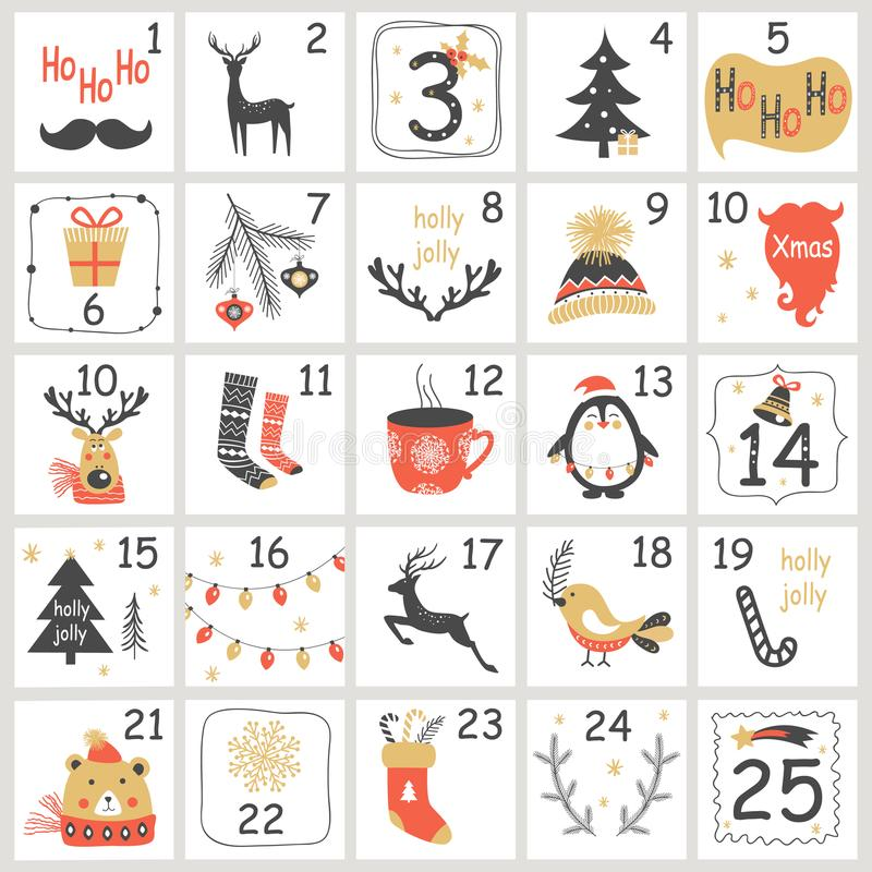 Christmas Advent calendar with hand drawn elements. Xmas Poster. Vector illustration stock illustration