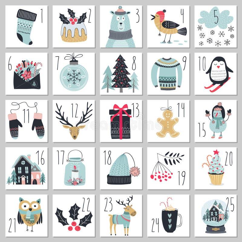 Free Christmas Advent Calendar, Hand Drawn Style. Royalty Free Stock Photo - 79930095