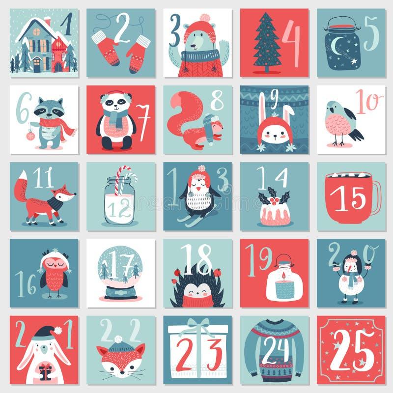 Free Christmas Advent Calendar, Hand Drawn Style. Royalty Free Stock Photo - 99457585
