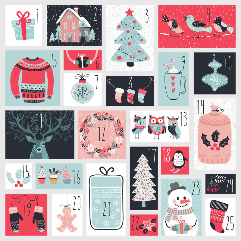 Christmas advent calendar, hand drawn style. Vector illustration royalty free illustration