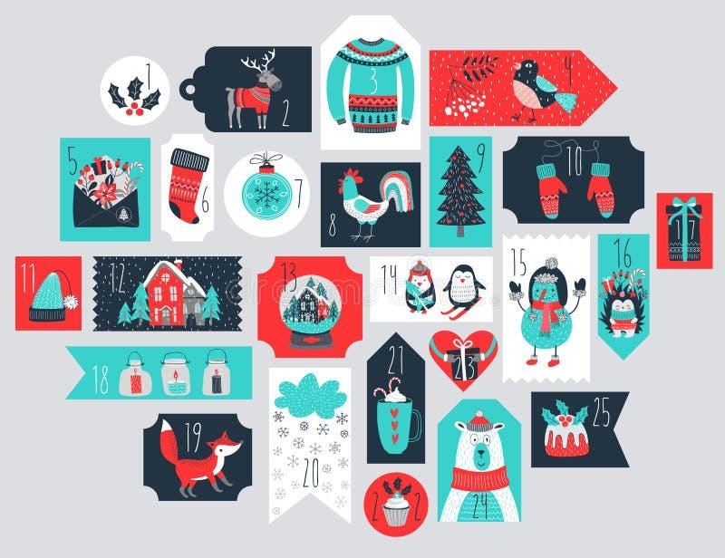 Christmas advent calendar, hand drawn style. Vector illustration vector illustration