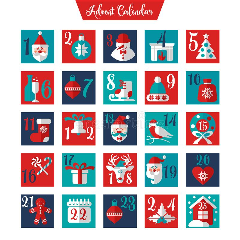 Christmas Advent Calendar or Poster. Winter Holidays Design Elements. Countdown Calendar. stock photo