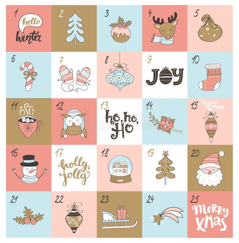 Christmas Advent Calendar With Christmas Symbols Stock Vector
