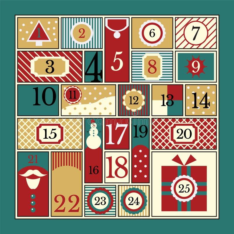 Christmas Advent Calendar. Advent calendar. Vector illustration of flat style royalty free illustration