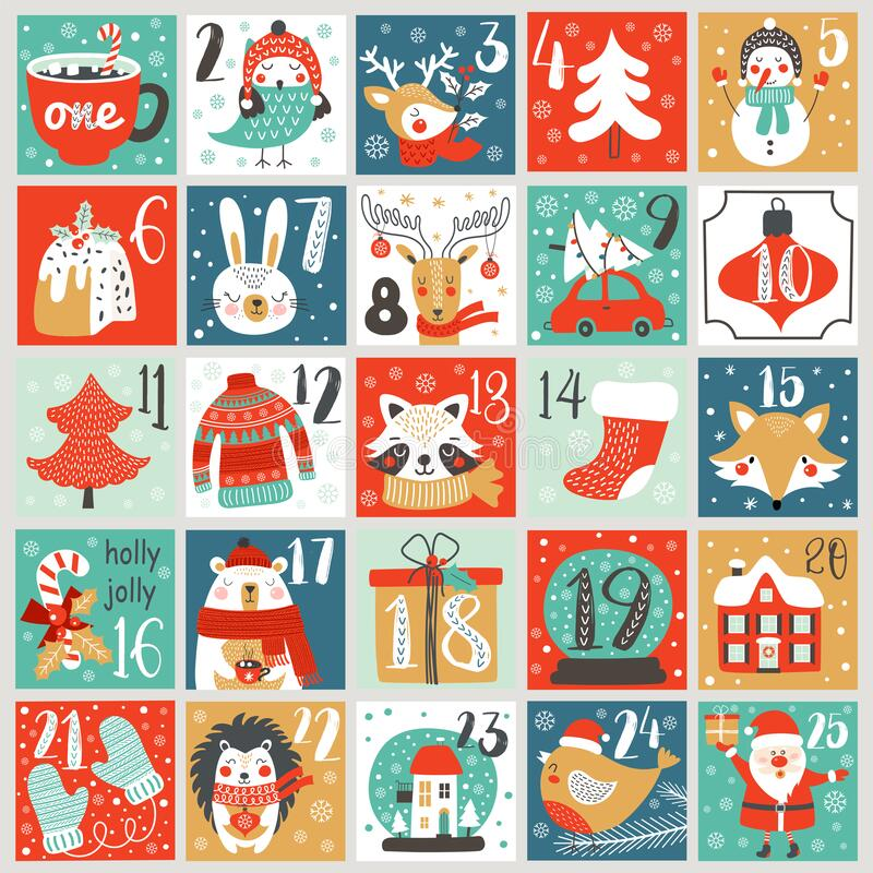 Free Christmas Advent Calendar With Hand Drawn Elements. Xmas Poster. Vector Stock Photos - 198808803