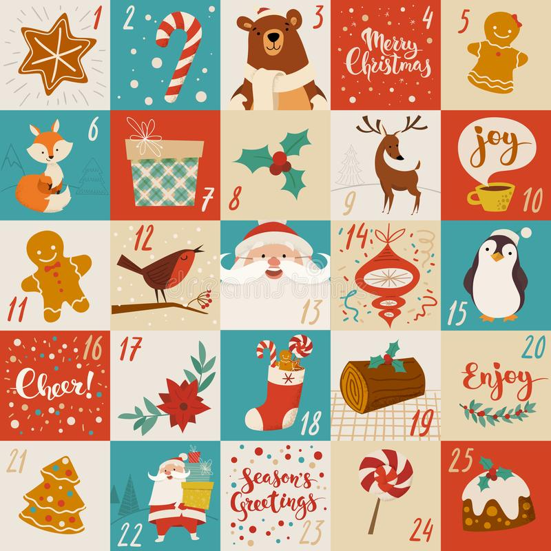 Free Christmas Advent Vector Calendar Design With Holiday Characters, Food And Symbols Stock Images - 156301694