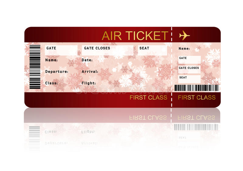 Christmas airline boarding pass ticket isolated over white. Christmas airline boarding pass ticket with shadow isolated over white background stock illustration