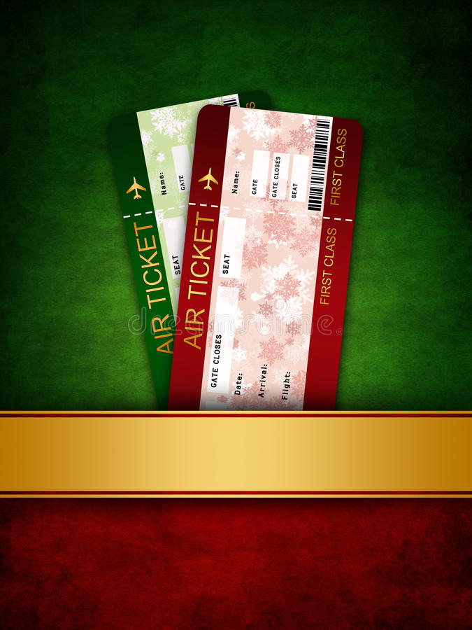 Christmas airline boarding pass ticket in pocket stock illustration