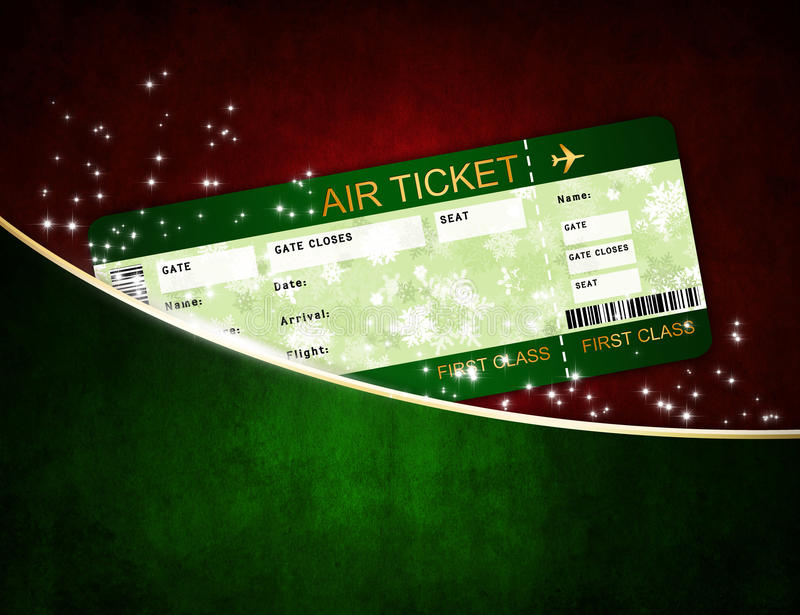 Christmas airline boarding pass ticket in pocket vector illustration