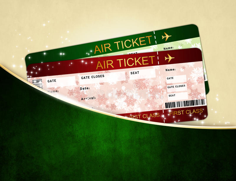 Christmas airline boarding pass tickets in pocket stock illustration