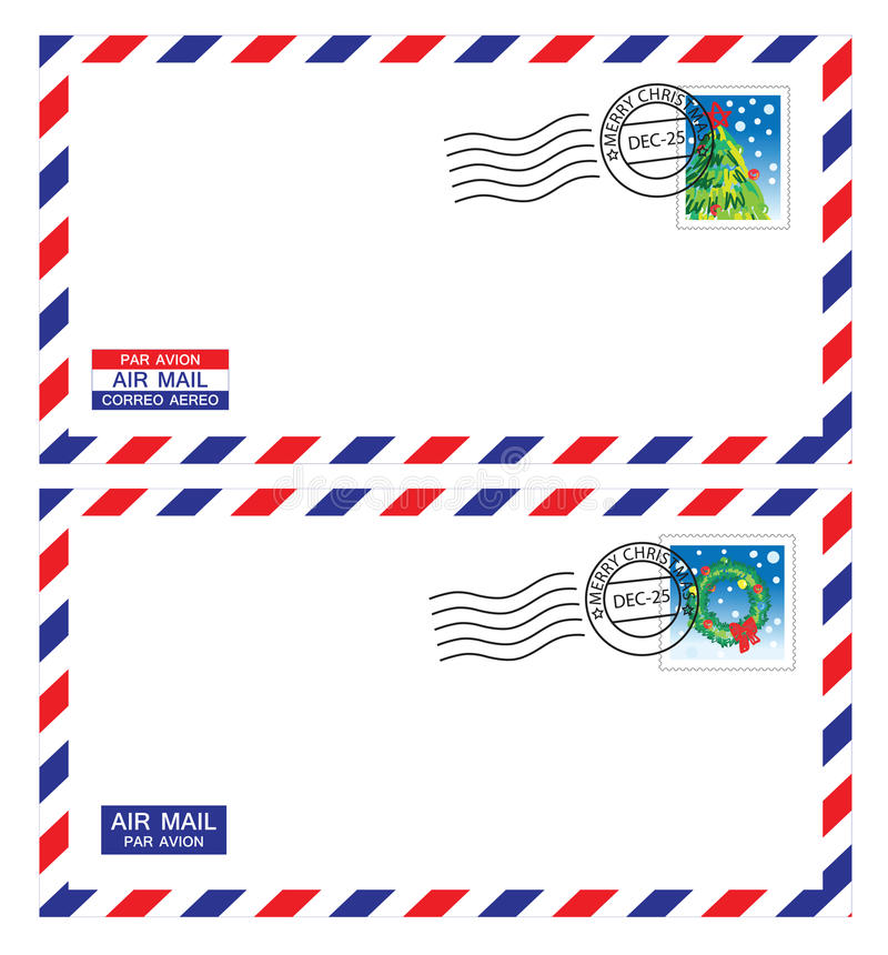 Download Christmas airmail envelope stock illustration. Image of address - 22634366