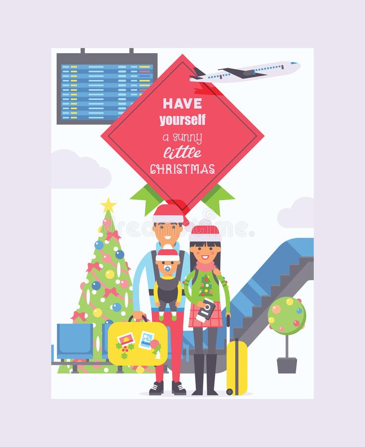 Christmas in airport vector people characters man woman tourists in santa hats in departure arrival terminal in airports royalty free illustration