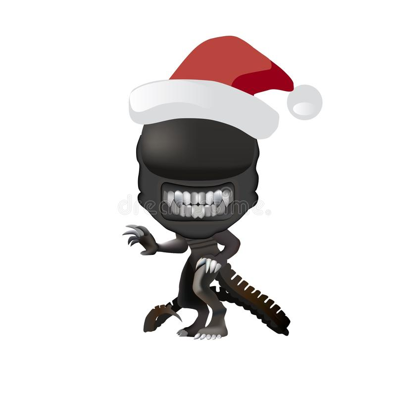 Christmas Alien in Santa hat Illustration Drawing stock photo