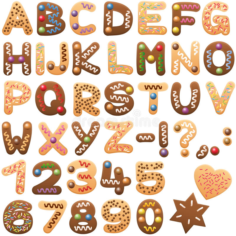 Christmas Alphabet Gingerbread Cookies Letters Font royalty free illustration