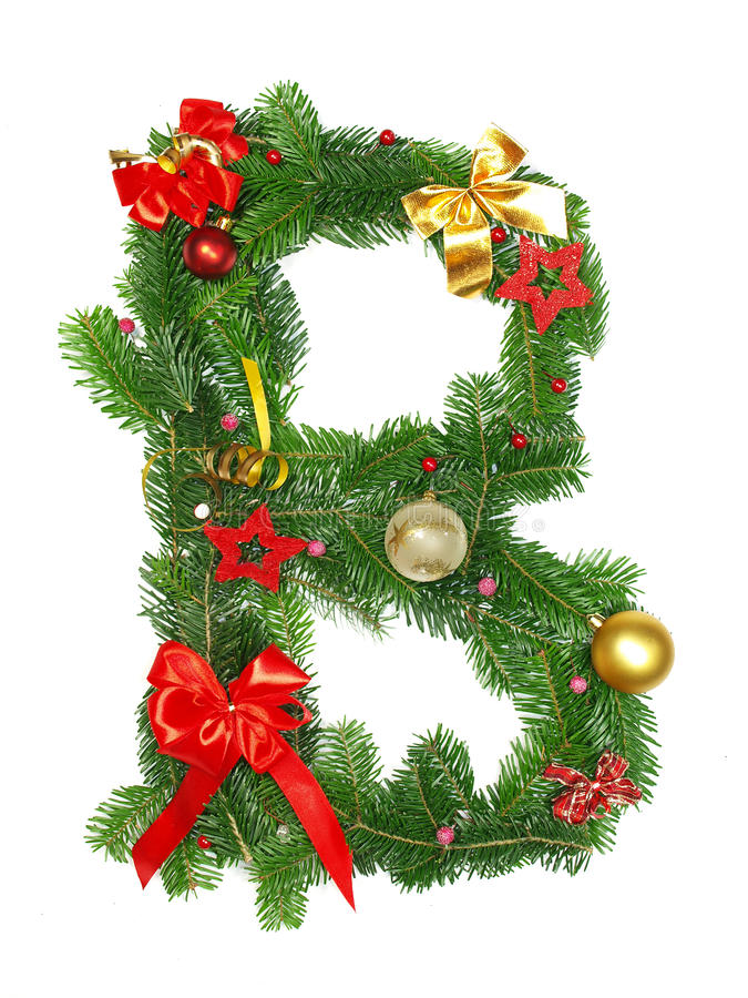 Christmas Alphabet Letter B. Isolated on white background stock photography