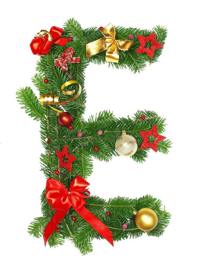 Christmas Alphabet Letter E. Isolated on white background stock image