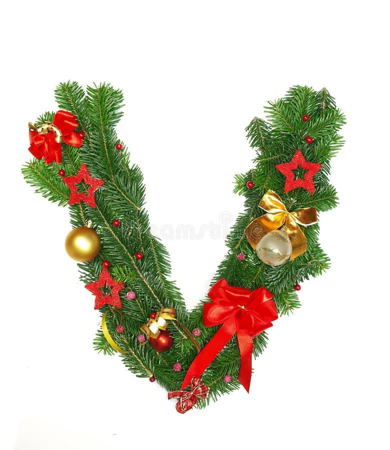 Christmas Alphabet Letter V. Isolated on white background royalty free stock images