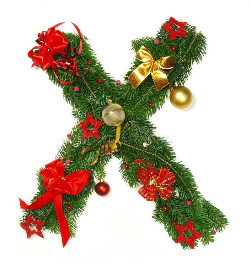 Christmas Alphabet Letter X. Isolated on white background royalty free stock image