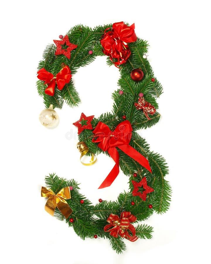 Christmas Alphabet Number 3. Isolated on white background royalty free stock photography