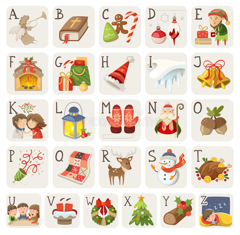 Christmas alphabet. Set of christmas items, characters and situations in alphabet