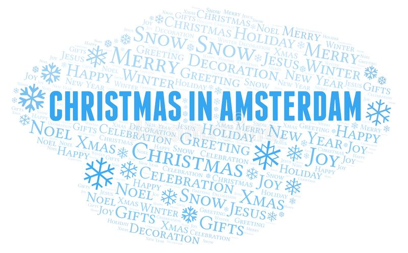 Christmas In Amsterdam word cloud. Wordcloud made with text only stock illustration